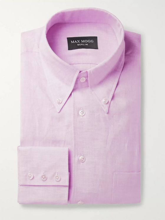 Maximilian Mogg Button-Down Collar Linen Shirt