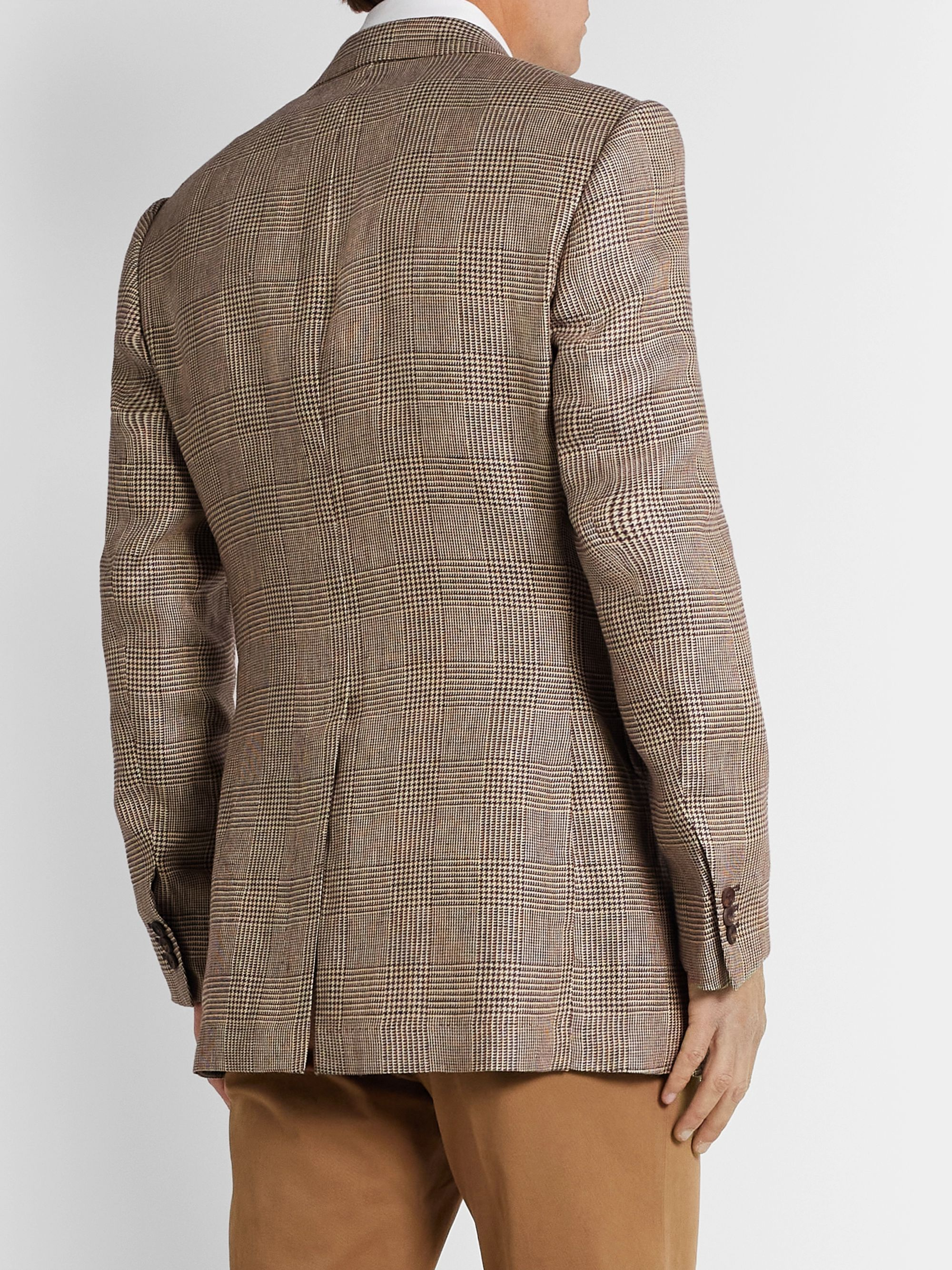 Maximilian Mogg Slim-Fit Checked Linen Blazer
