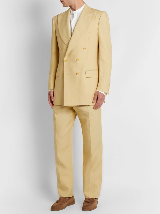 Maximilian Mogg Pleated Linen Suit Trousers