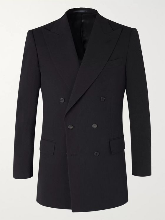 Maximilian Mogg Slim-Fit Double-Breasted Cotton-Seersucker Blazer
