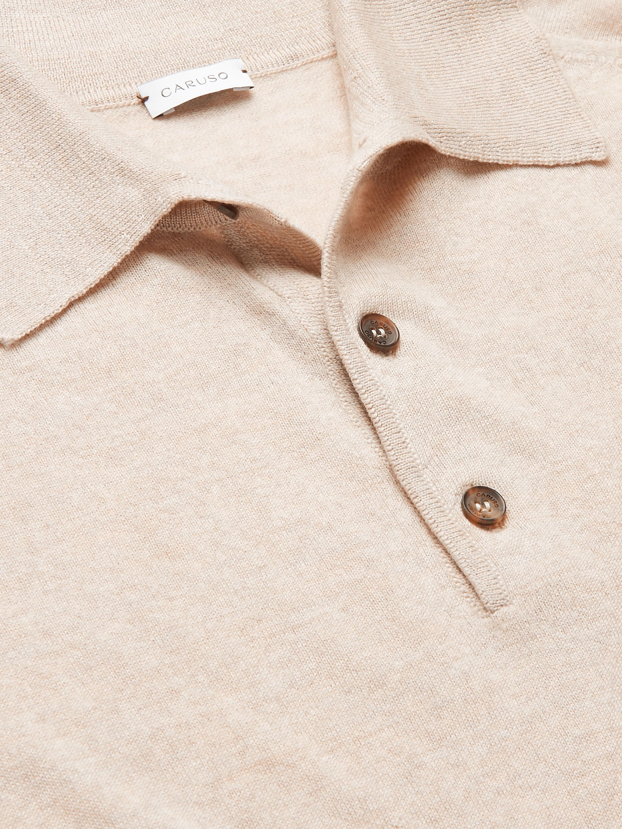 Beige Wool Polo Shirt | Caruso