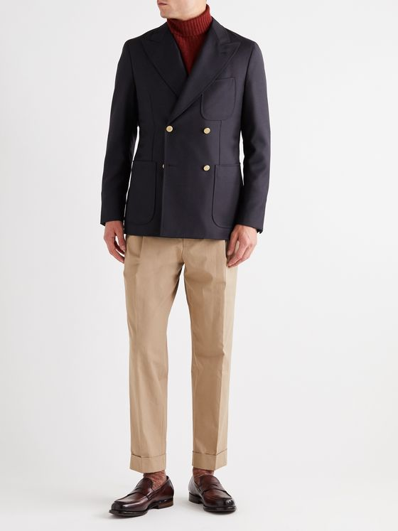 Caruso Unstructured Double-Breasted Wool Blazer