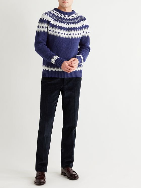 MP Massimo Piombo Fantasy Slim-Fit Fair Isle Merino Wool Sweater