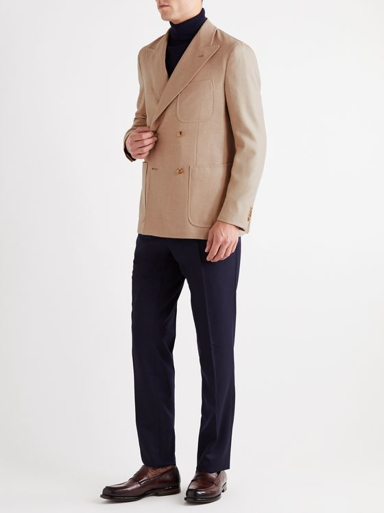 Caruso Unstructured Double-Breasted Camel, Wool and Silk-Blend Twill Blazer