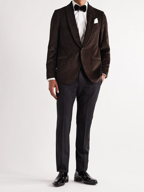 MP Massimo Piombo Hugo Shawl-Collar Cotton-Velvet Tuxedo Jacket