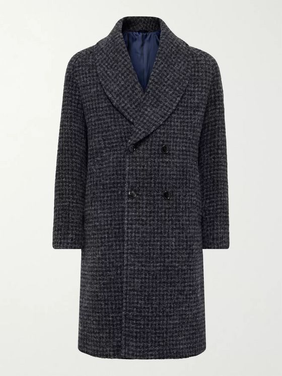 MP Massimo Piombo Robbie Shawl-Collar Double-Breasted Checked Alpaca-Blend Coat