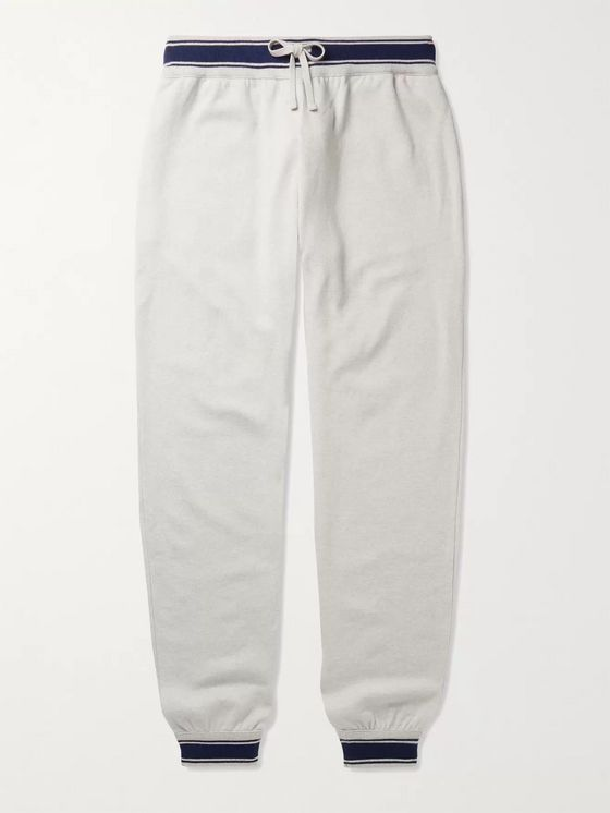 Kiton Tapered Contrast-Tipped Cashmere Sweatpants