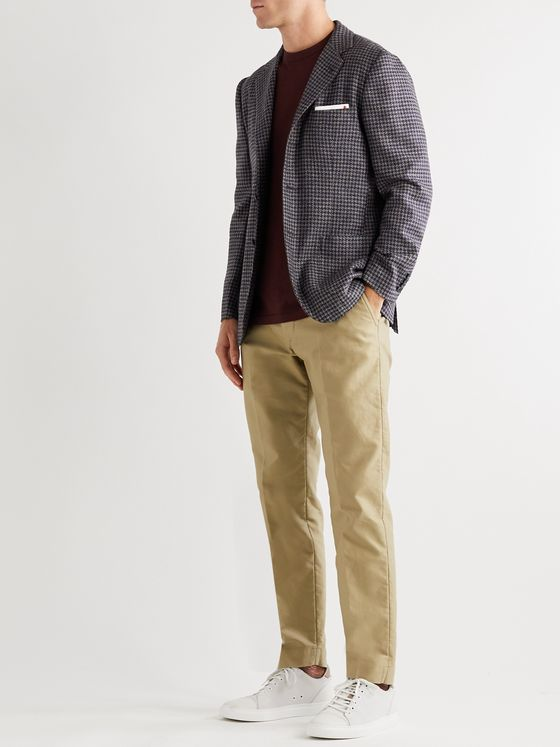 Kiton Unstructured Houndstooth Wool, Silk and Linen-Blend Blazer