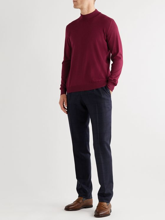 KITON Cashmere and Silk-Blend Mock Neck Sweater