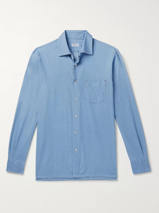 Kiton Slim-Fit Cotton-Chambray Shirt