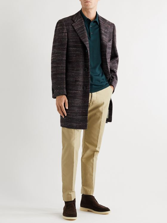 KITON Cashmere, Virgin Wool and Silk-Blend Bouclé Coat