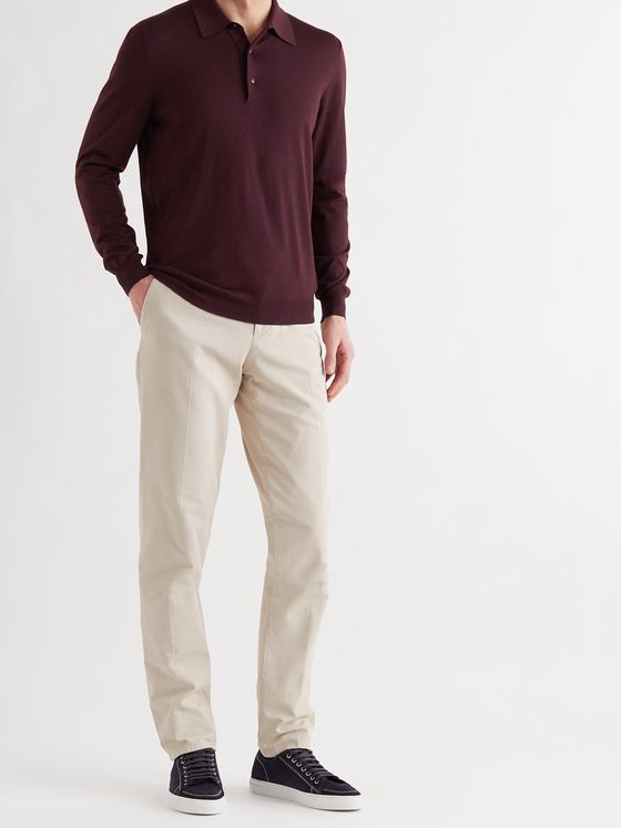 KITON Cashmere and Silk-Blend Polo Shirt