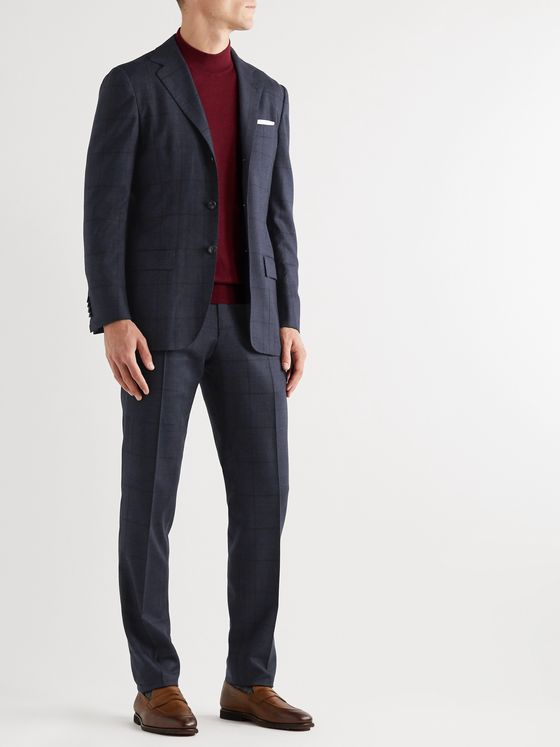 Kiton Prince of Wales Pleated Cashmere Suit Trousers
