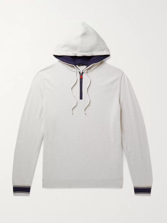 KITON Contrast-Tipped Cashmere Half-Zip Hoodie