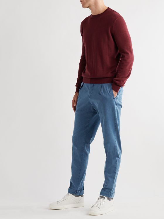 KITON Tapered Stretch Cotton and Lyocell-Blend Trousers