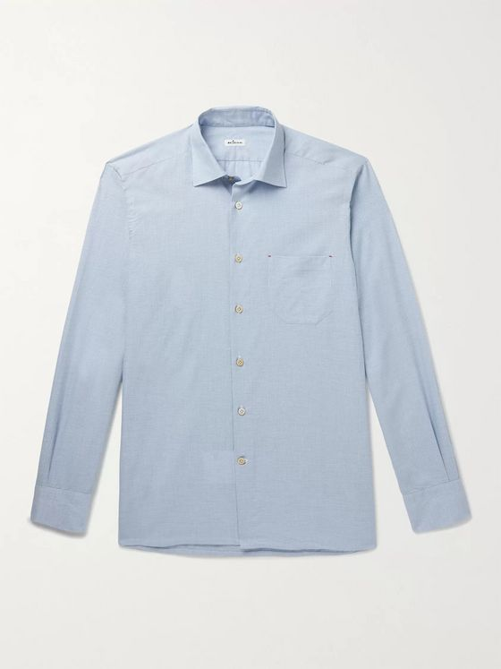 KITON Slim-Fit Puppytooth Checked Cotton and Cashmere-Blend Shirt