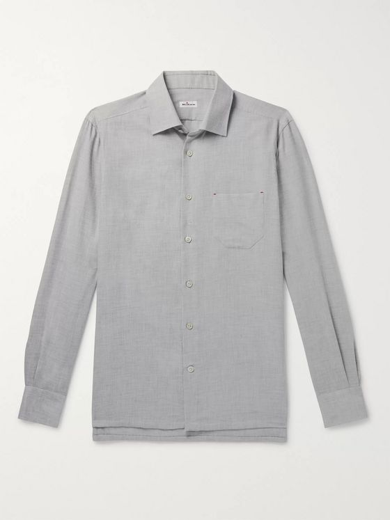 KITON Slim-Fit Cotton and Cashmere-Blend Shirt