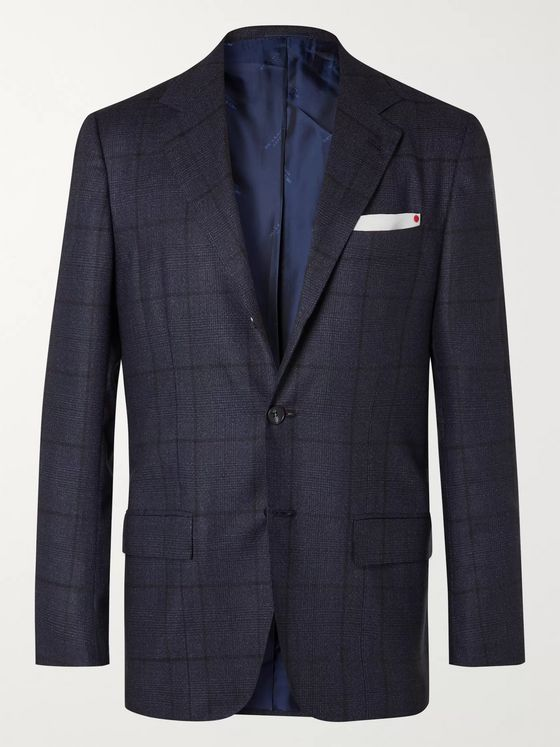 KITON Slim-Fit Prince of Wales Checked Cashmere Suit Jacket