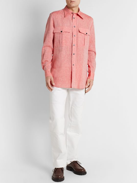 L.E.J Camp-Collar Linen Shirt