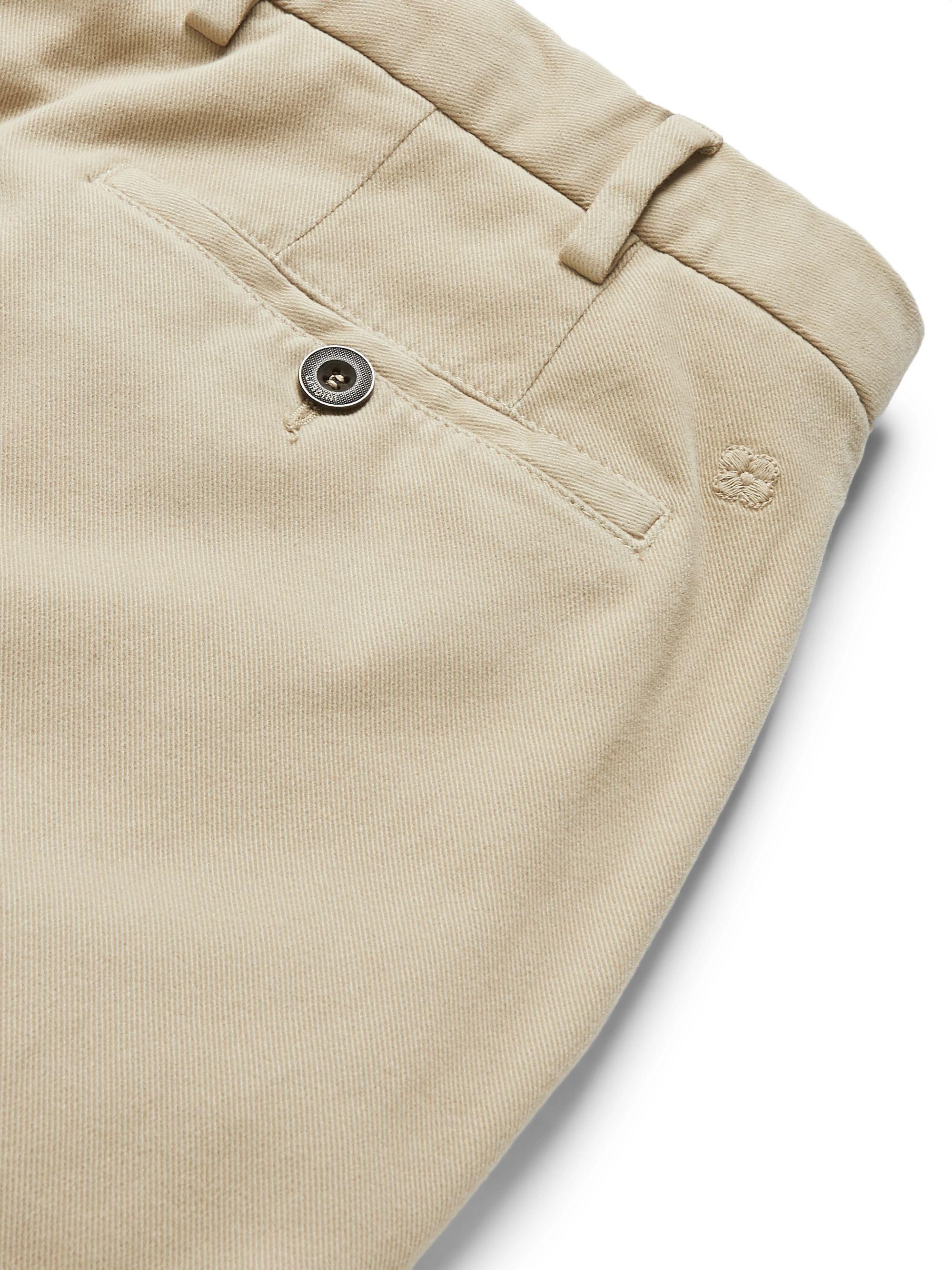 Beige Tapered Garment-dyed Cotton-blend Twill Trousers | Lardini