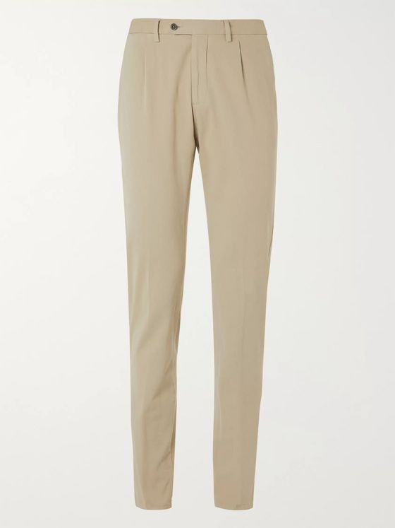 Lardini Tapered Garment-Dyed Cotton-Blend Corduroy Trousers