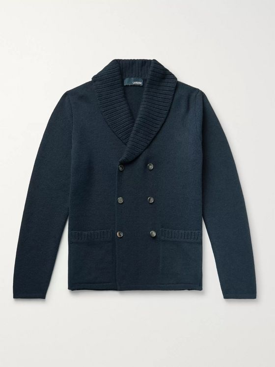 Lardini Shawl-Collar Double-Breasted Alpaca-Blend Cardigan
