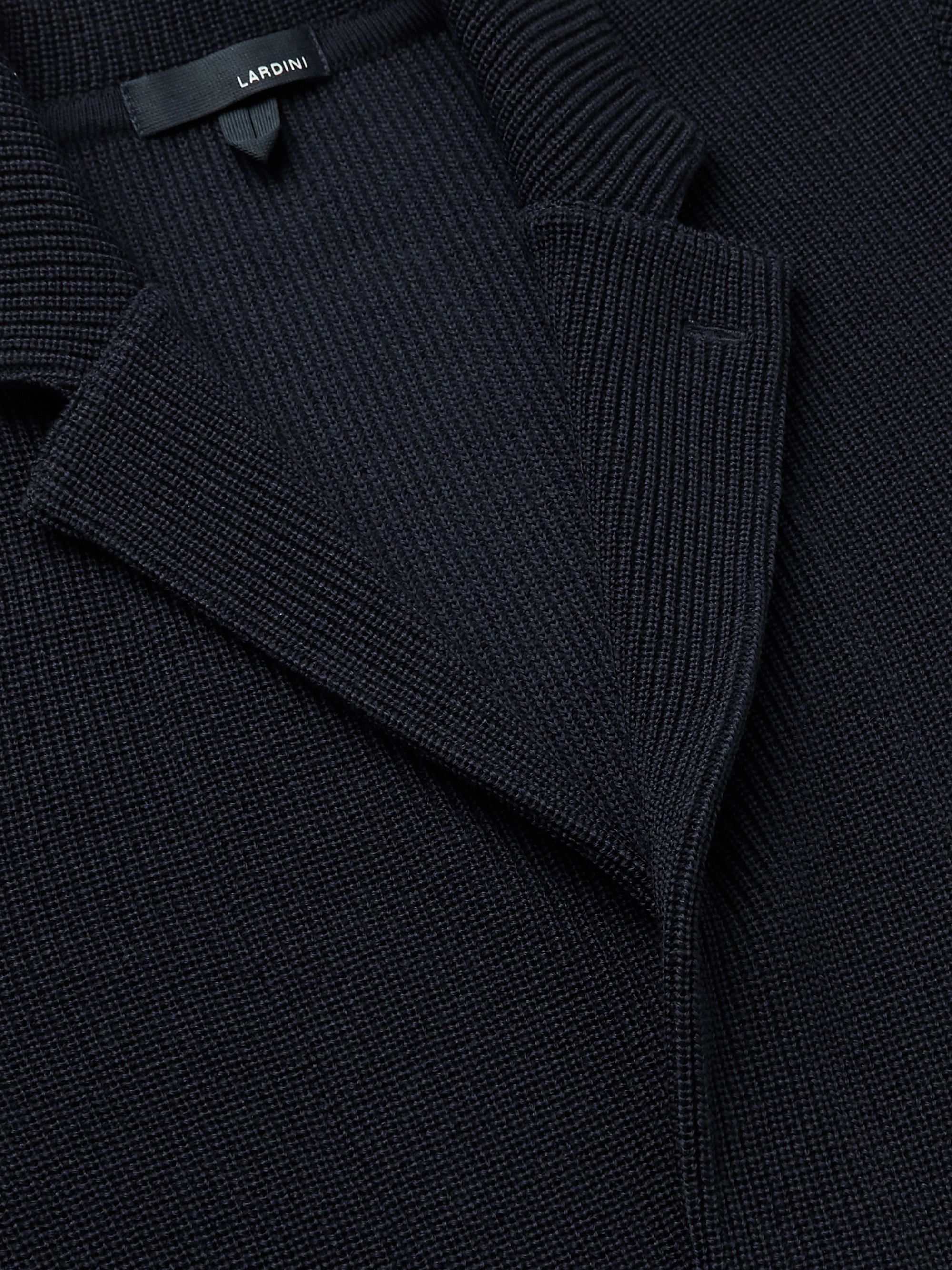 Navy Slim-fit Ribbed Wool Cardigan | Lardini