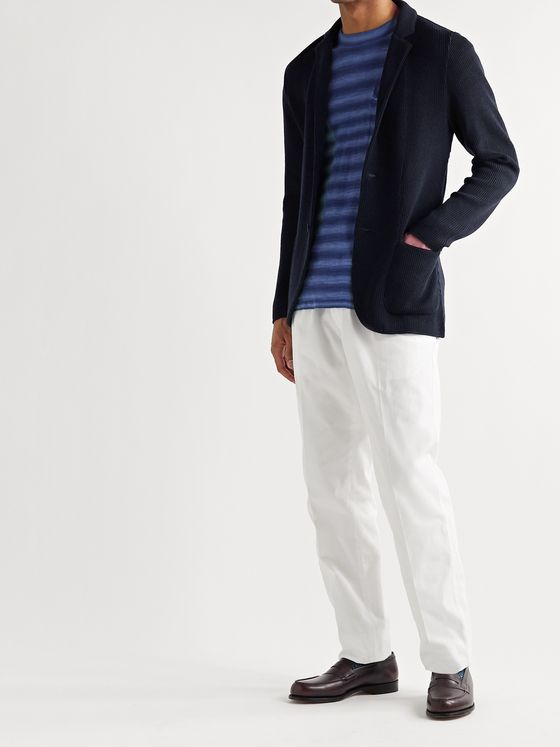 Lardini Slim-Fit Ribbed Wool Cardigan