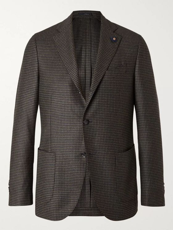 Lardini Slim-Fit Unstructured Houndstooth Wool Blazer
