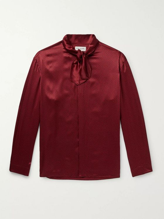 SAINT LAURENT Tie-Detailed Polka-Dot Silk-Satin Shirt