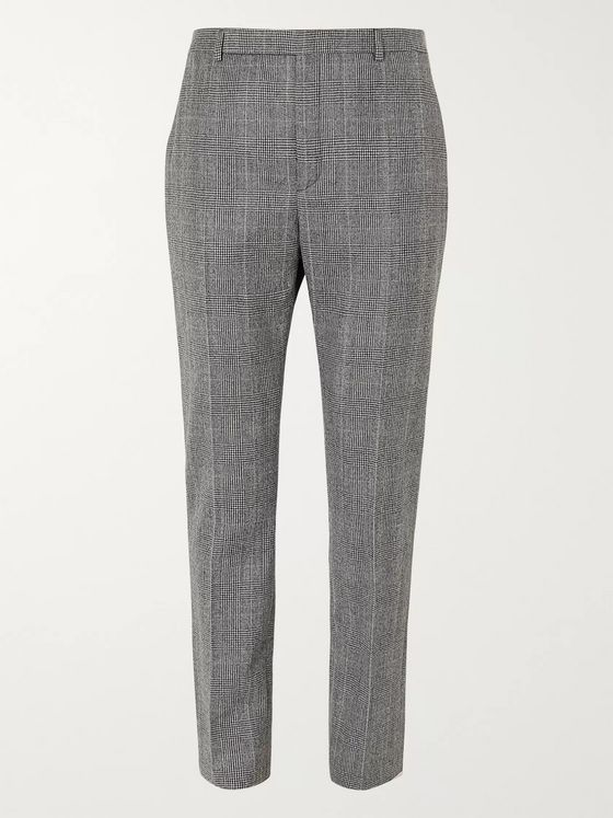 SAINT LAURENT Prince of Wales Checked Wool-Flannel Trousers