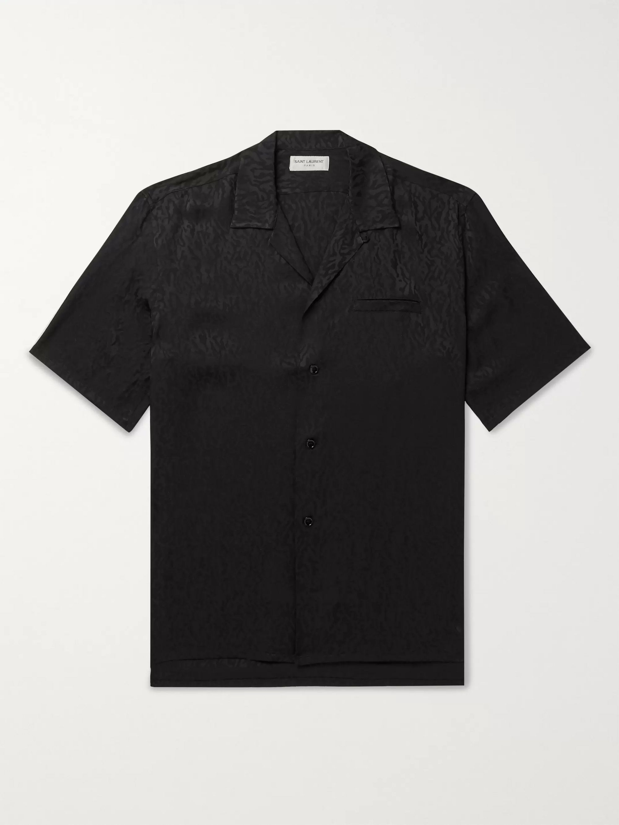SAINT LAURENT Camp-Collar Leopard-Jacquard Silk Shirt