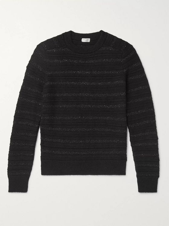 SAINT LAURENT Striped Metallic Knitted Sweater