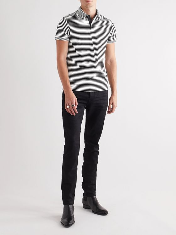 SAINT LAURENT Striped Cotton-Piqué Polo Shirt