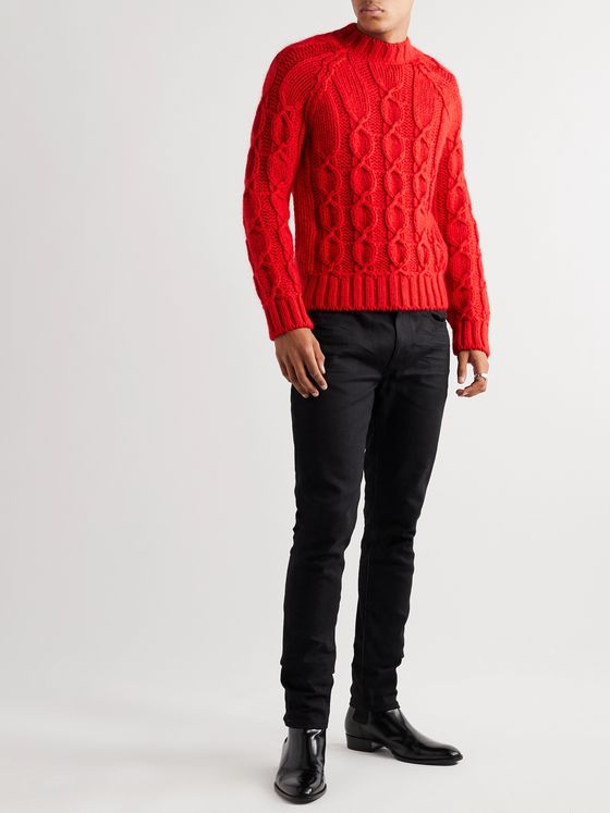 SAINT LAURENT Slim-Fit Cable-Knit Wool-Blend Sweater