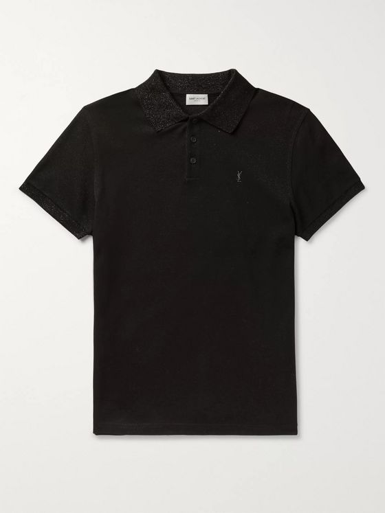 SAINT LAURENT Logo-Embroidered Metallic Cotton-Piqué Polo Shirt