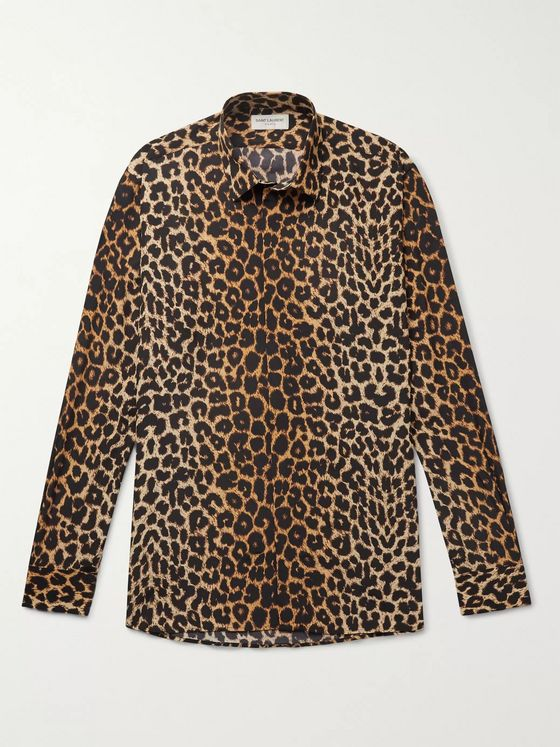 SAINT LAURENT Leopard-Print Silk-Crepe Shirt