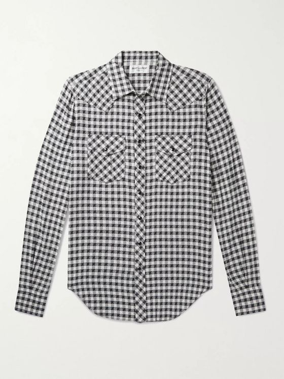SAINT LAURENT Slim-Fit Gingham Cotton-Blend Western Shirt