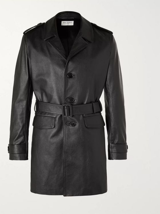SAINT LAURENT Frank Belted Leather Trench Coat