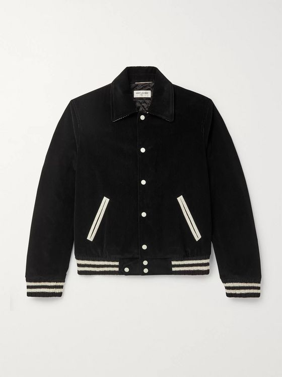 SAINT LAURENT Striped Padded Cotton-Corduroy Bomber Jacket