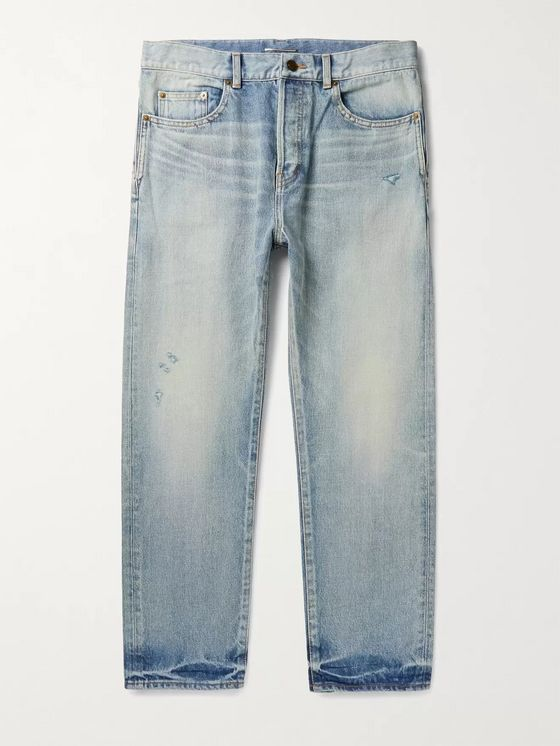 SAINT LAURENT Cropped Distressed Denim Jeans