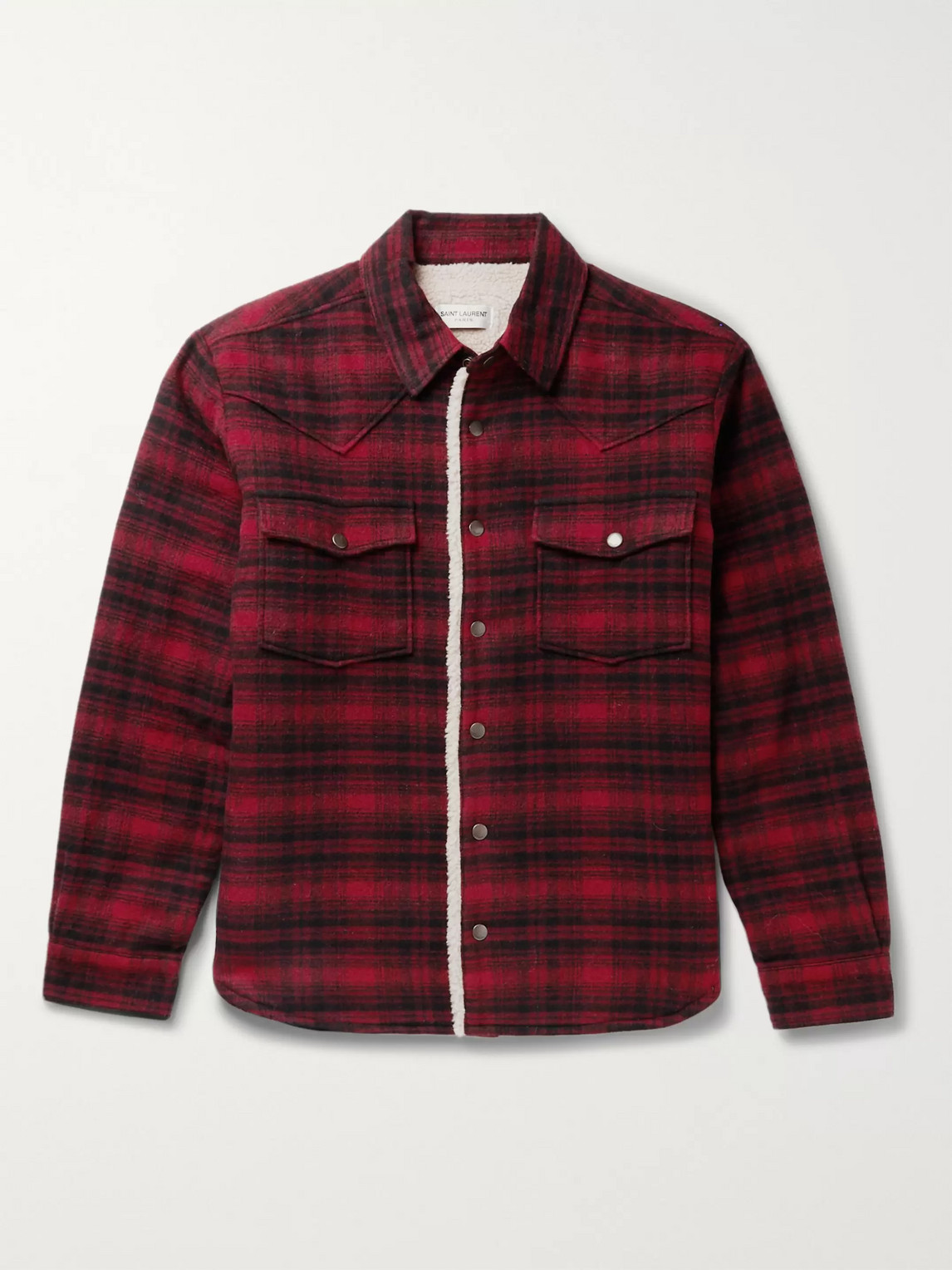 saint laurent - checked faux shearling-lined wool-blend jacket - men - red