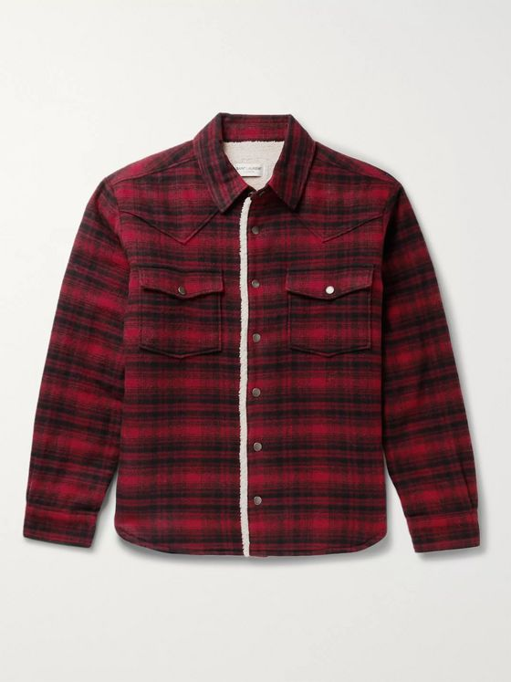 SAINT LAURENT Checked Faux Shearling-Lined Wool-Blend Jacket