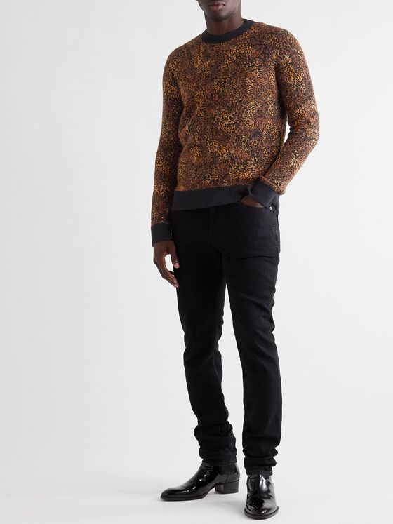 SAINT LAURENT Metallic Leopard Jacquard Sweater
