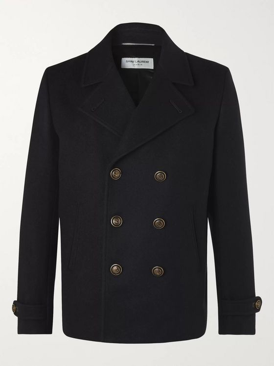 SAINT LAURENT Double-Breasted Wool-Felt Peacoat