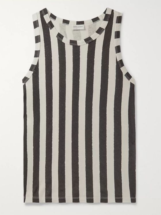 SAINT LAURENT Slim-Fit Striped Cotton-Jersey Tank Top
