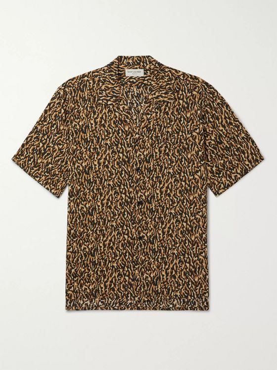 SAINT LAURENT Camp-Collar Leopard-Print Woven Shirt