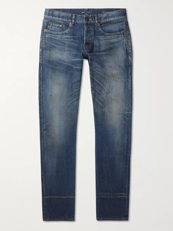 SAINT LAURENT Slim-Fit Washed Denim Jeans