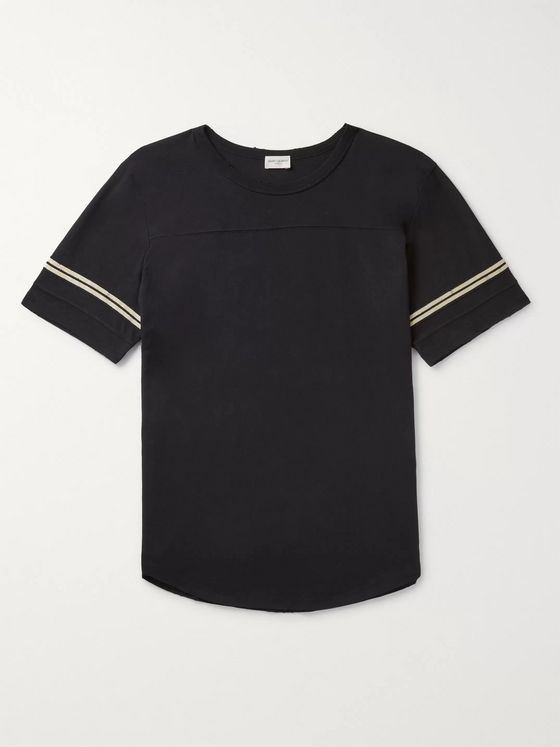 SAINT LAURENT Logo-Flocked Stripe-Trimmed Distressed Cotton-Jersey T-Shirt