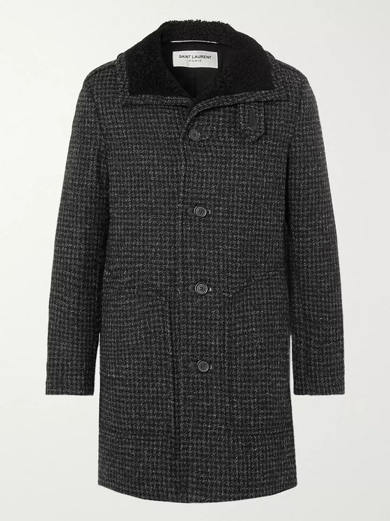 SAINT LAURENT Houndstooth Wool Coat